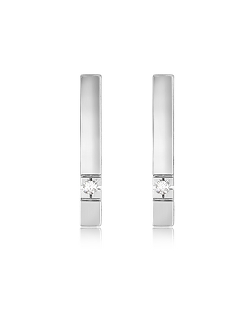 Sumptuous 18K white gold bars hold sparkling diamonds for a classic charm with contemporary edge and the glitter that every woman adores. CTW 0.02; color G; clarity VS. Signature box included. Made in Italy.