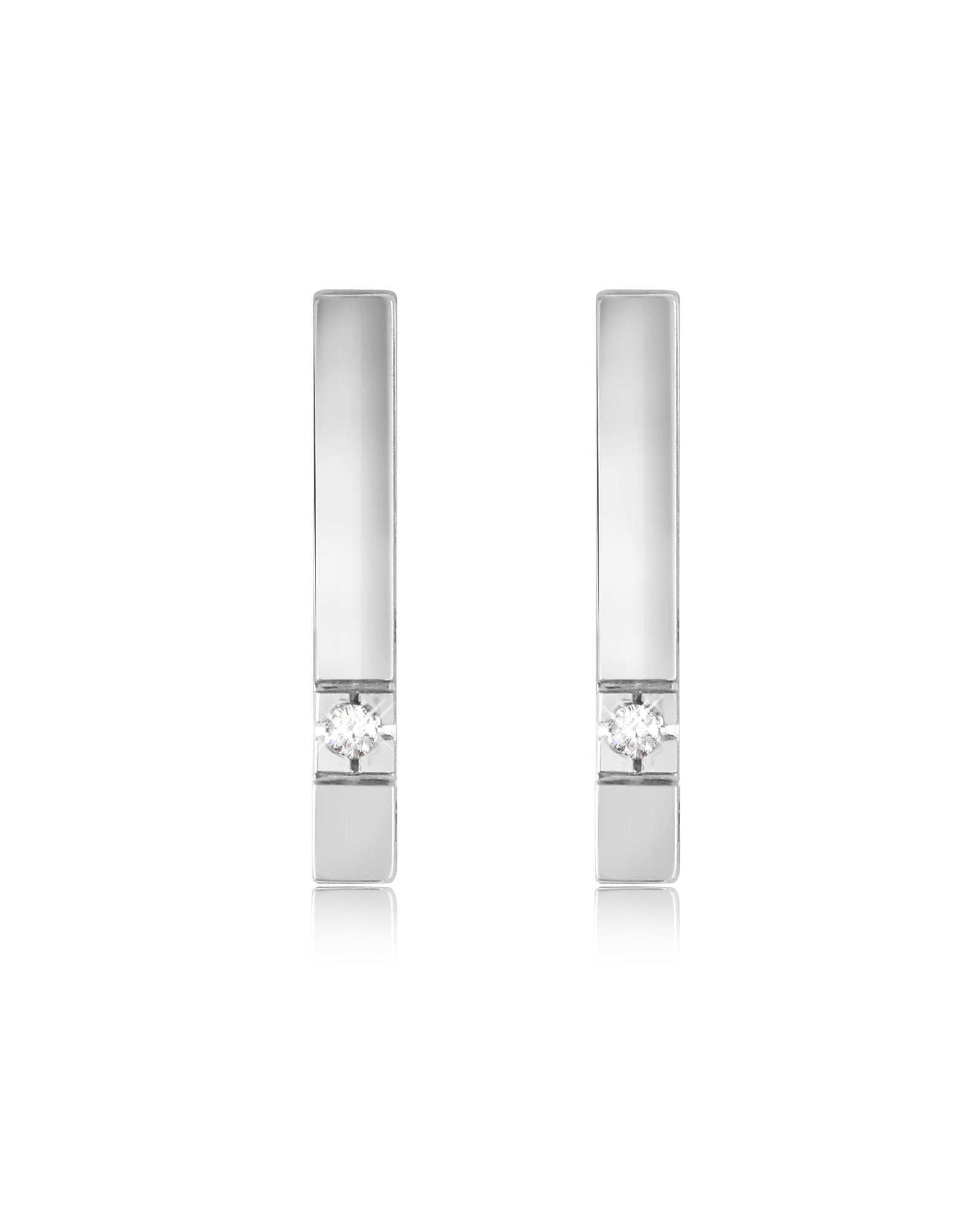 Forzieri Earrings, 0.02 ctw Diamond Bar Earrings