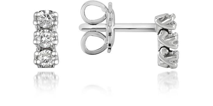 0.22 ctw Three-Stone Drop Diamond 18K Gold Earrings - Forzieri