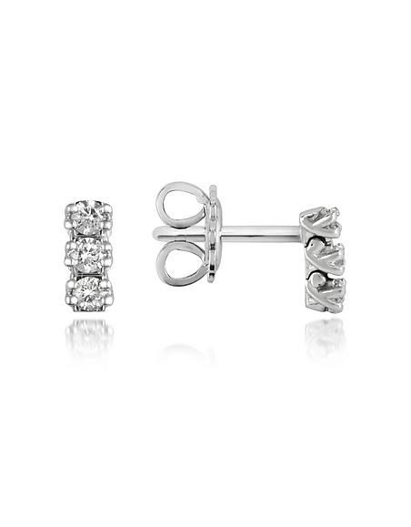 Forzieri Ohrringe aus 18k Gold mit drei leuchtenden Diamanten 0.22ctw