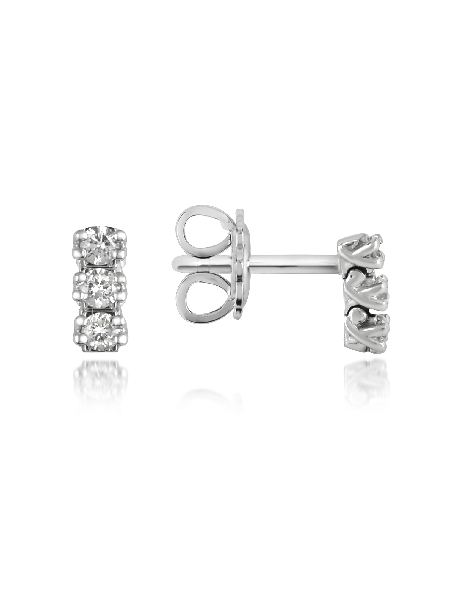 Forzieri Earrings, 0.22 ctw Three-Stone Drop Diamond 18K Gold Earrings