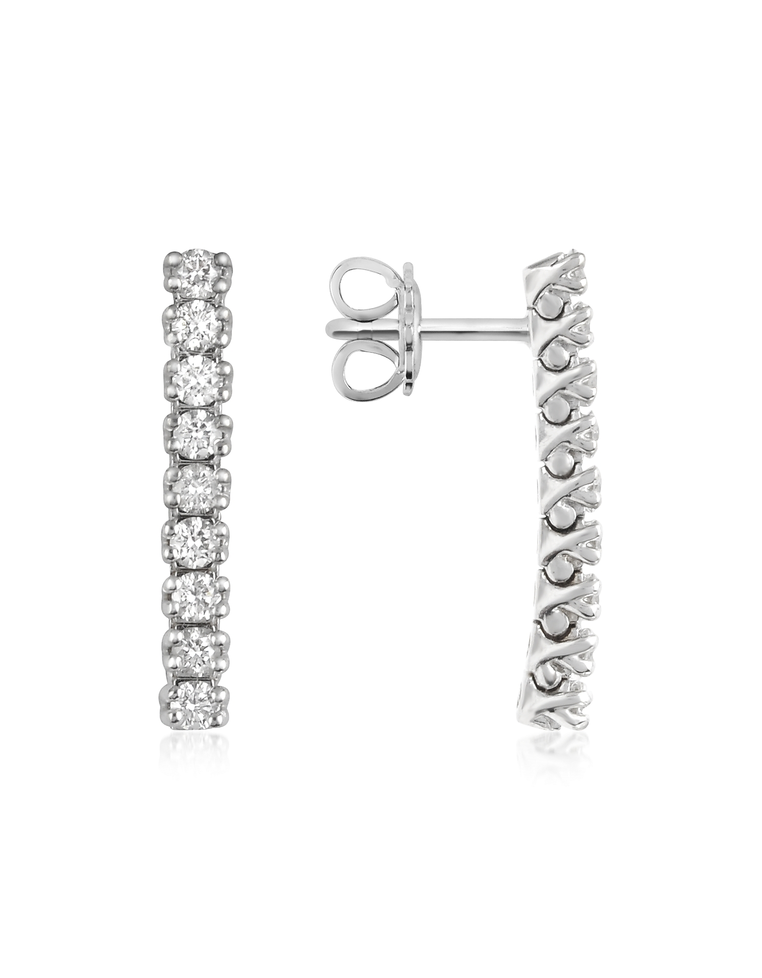 Forzieri Earrings, 0.63 ctw Nine-Stone Drop Diamond 18K Gold Earrings