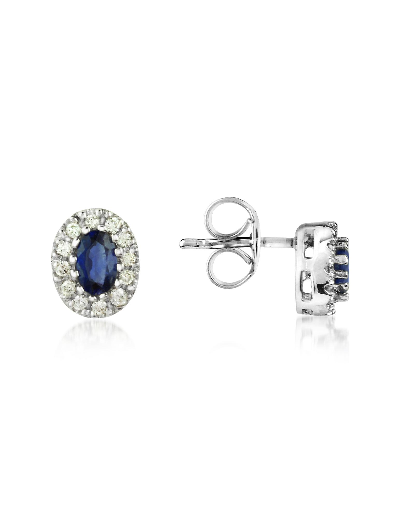 Incanto Royale Designer Earrings, Sapphires and Diamond 18K Gold Earrings