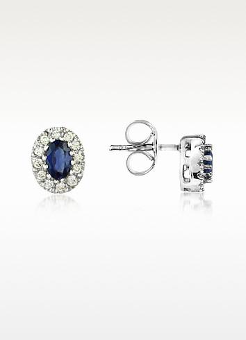 Sapphires and Diamond 18K Gold Earrings - Incanto Royale