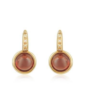 Garnet and Diamond 18K Rose Gold Earrings