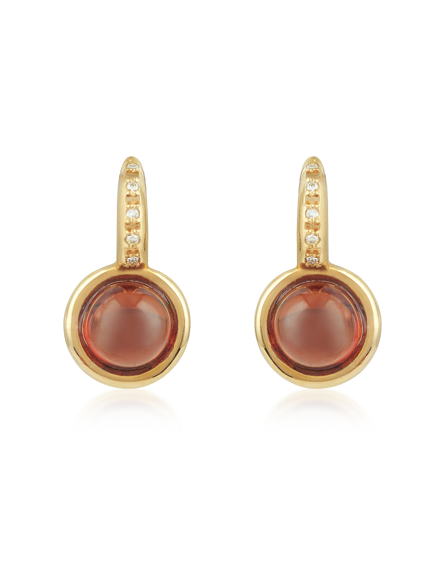 Mia & Beverly Earrings, Garnet and Diamond 18K Rose Gold Earrings
