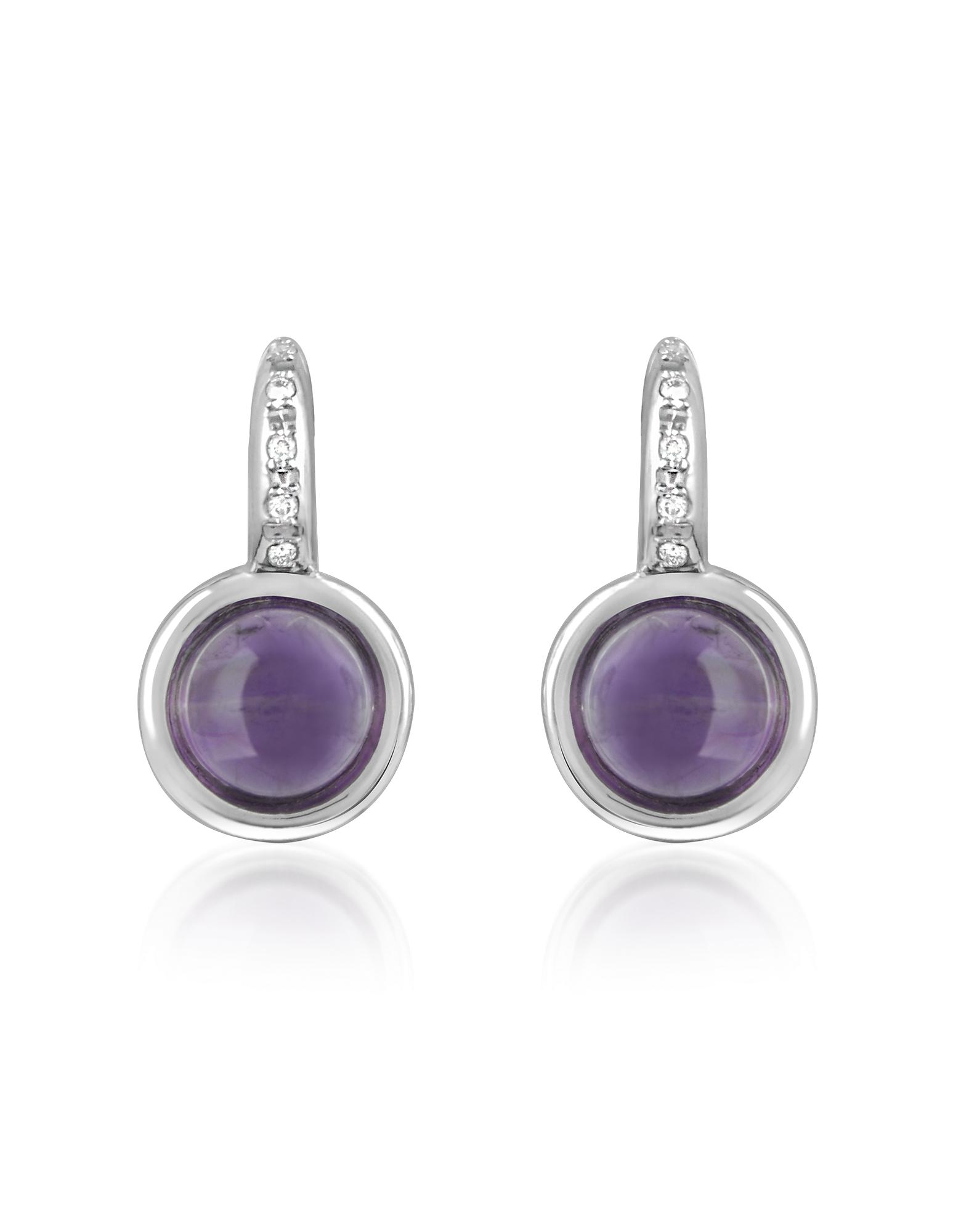 Mia & Beverly Earrings, Amethyst and Diamond 18K White Gold Earrings