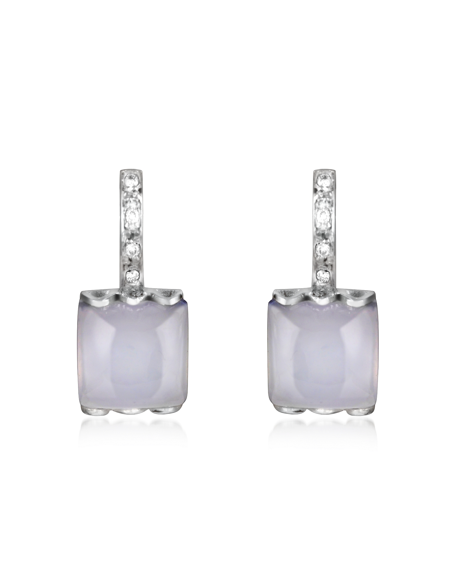 Mia & Beverly Earrings, Chalcedony and Diamond 18K White Gold Earrings