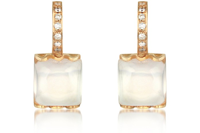 Rose Quartz and Diamond 18K Gold Earrings - Mia & Beverly