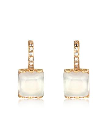Mia & Beverly - Rose Quartz and Diamond 18K Gold Earrings