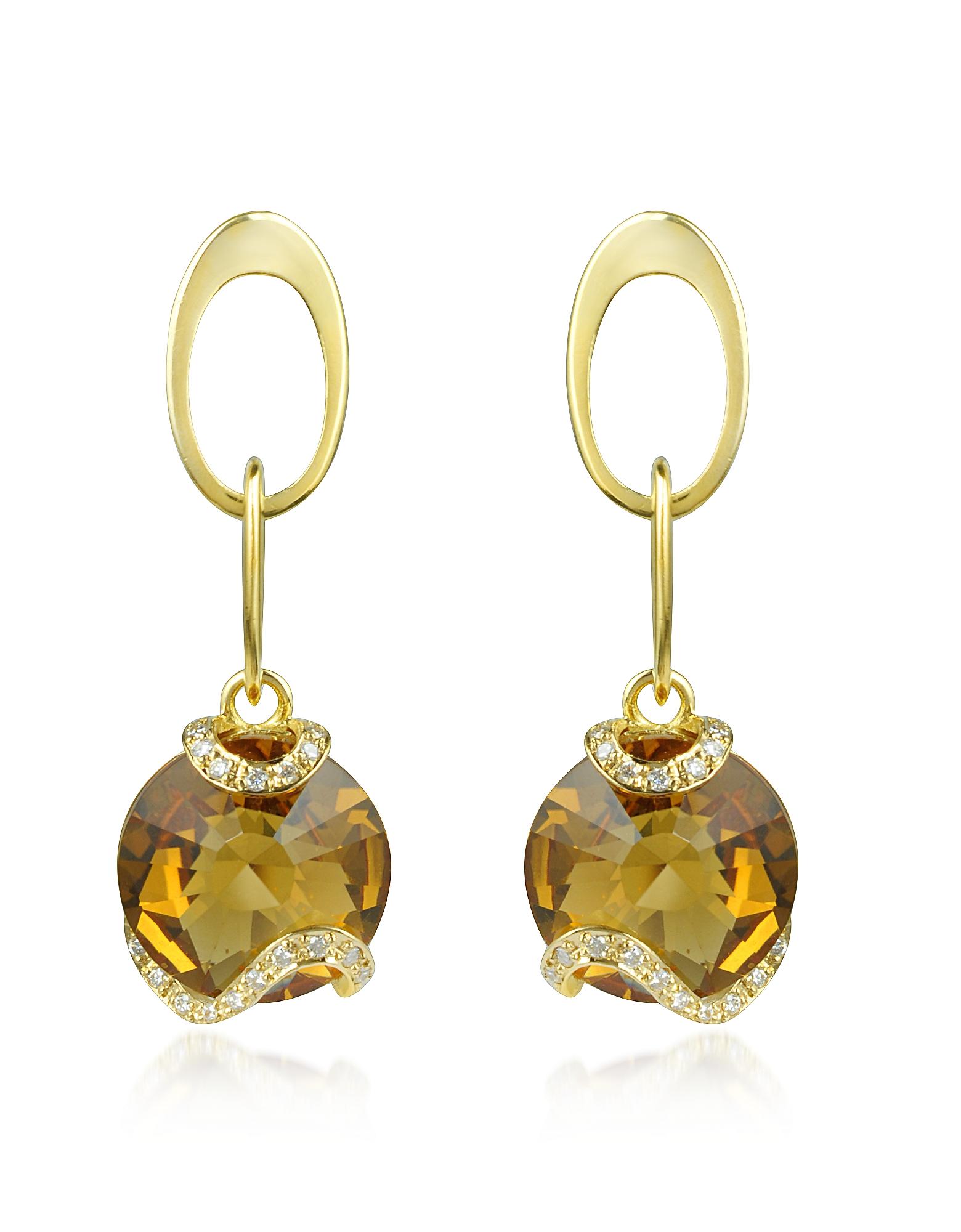 Citrine and Diamond 18K Gold Earrings