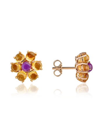 Forzieri - Amethyst and Citrine Flower 18K Gold Earrings