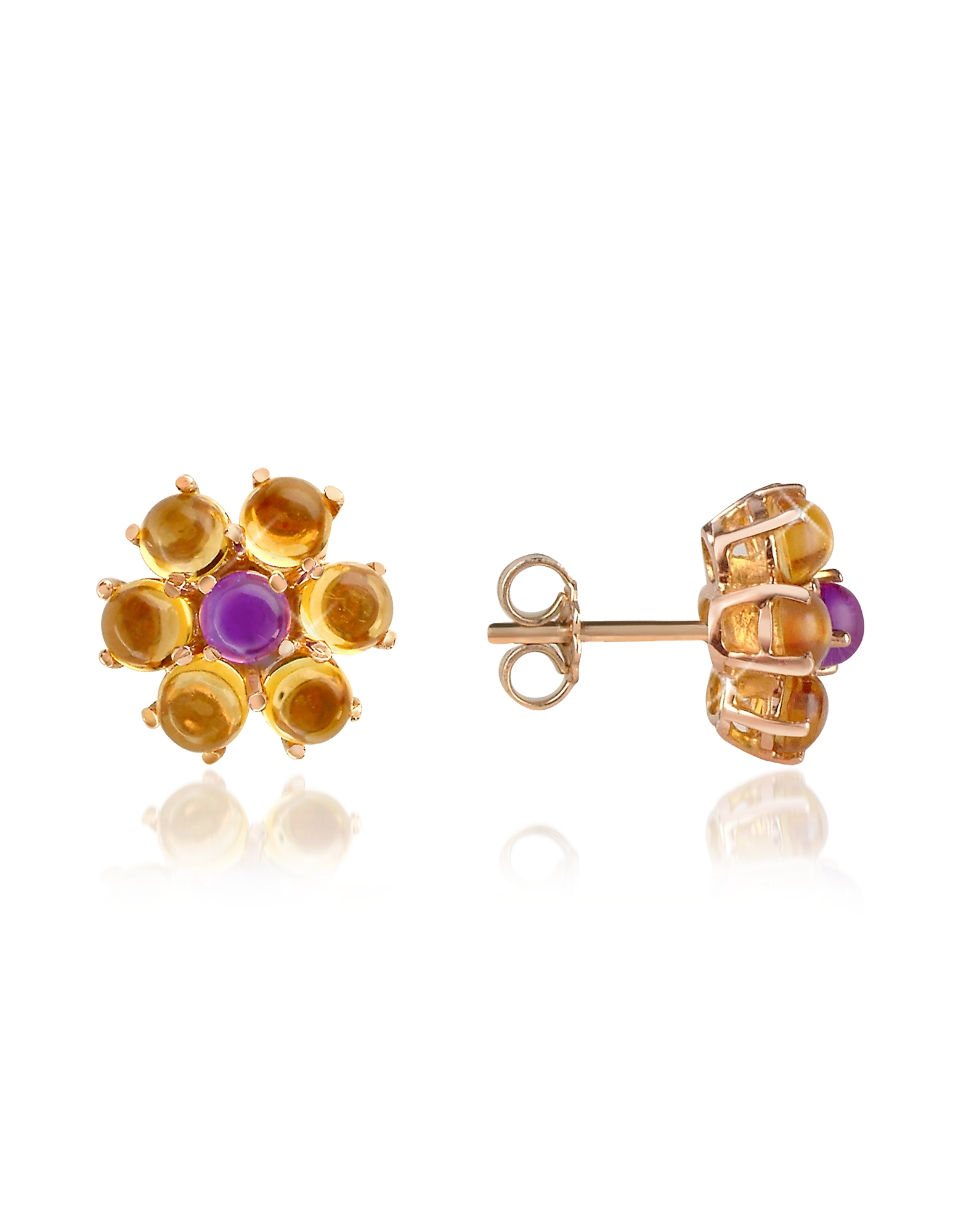 Forzieri Earrings, Amethyst and Citrine Flower 18K Gold Earrings