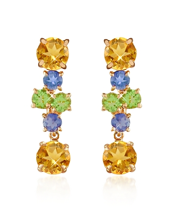 Forzieri - Amethyst and Citrine Flower 18K Gold Earrings