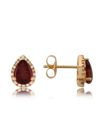 Forzieri Medici - Garnet and Diamond Drop 18K Gold Earrings