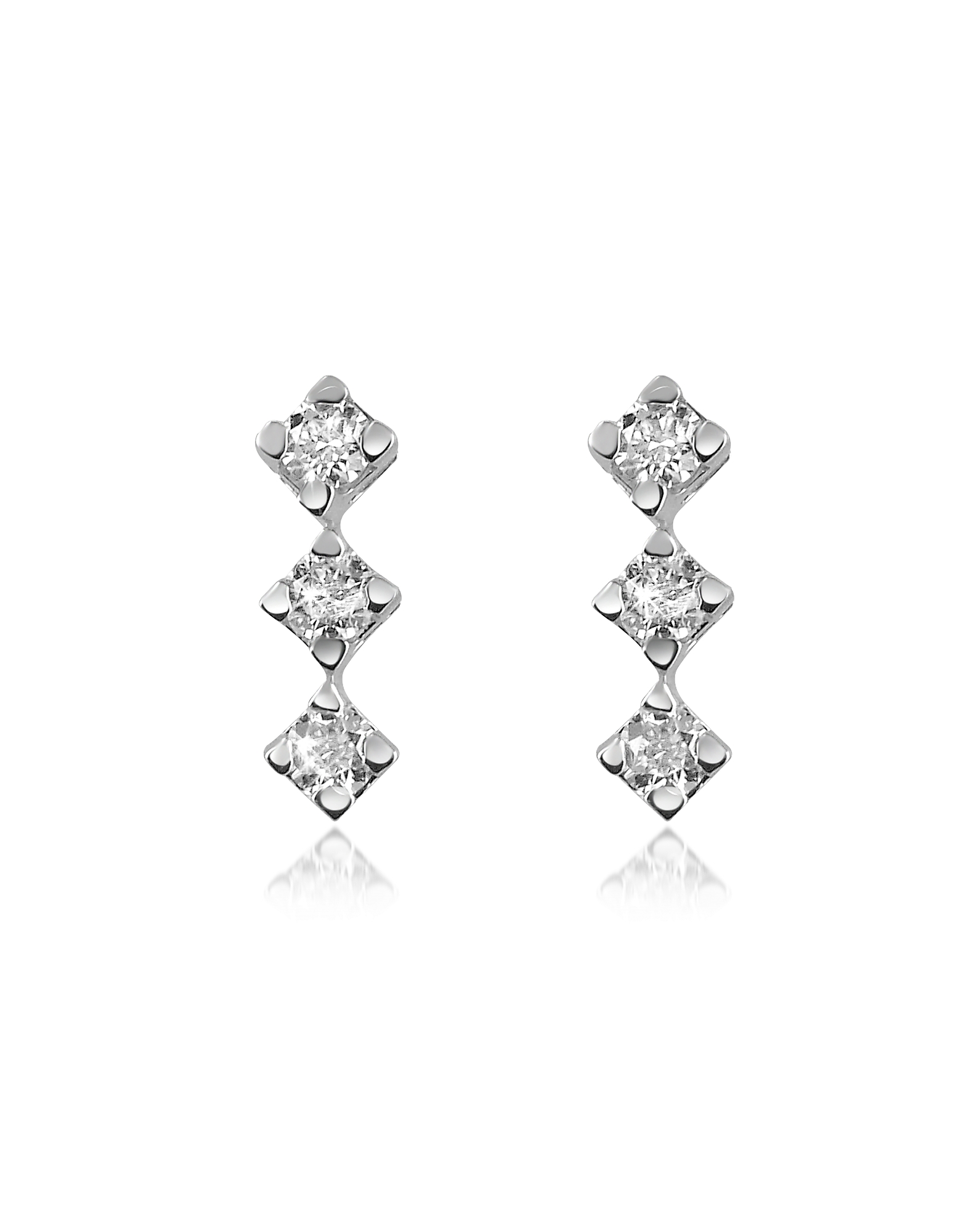 Forzieri Earrings, 0.24 ct Diamond Drop 18K Gold Earrings