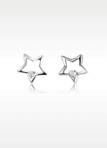 0.04 ct Diamond Star 18K Gold Earrings - Forzieri