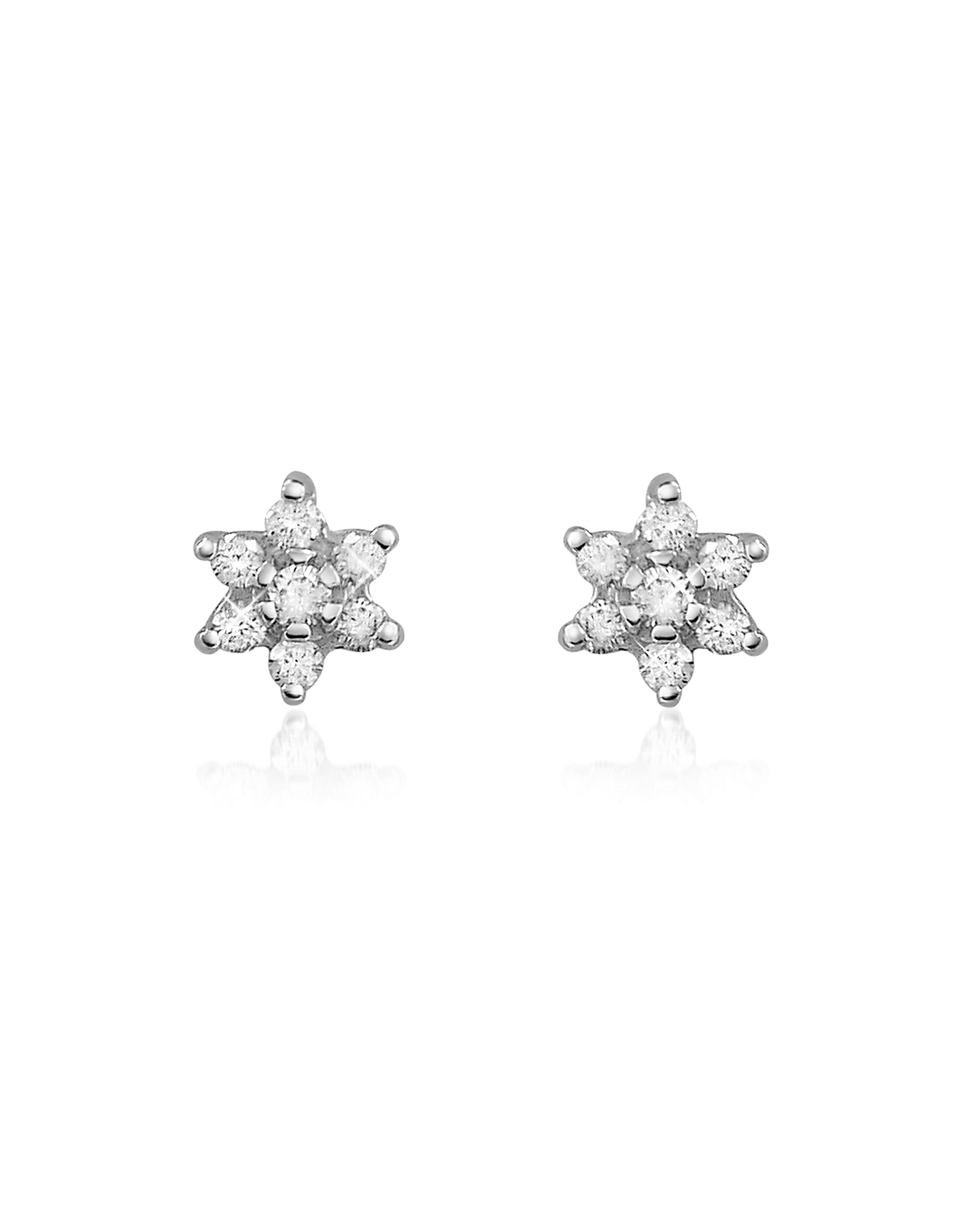 Forzieri Earrings, 0.25 ct Diamond Flower 18K Gold Earrings