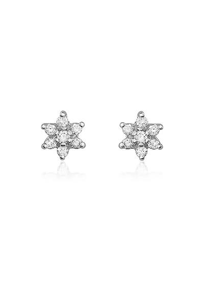 0.25 ct Diamond Flower 18K Gold Earrings - Forzieri