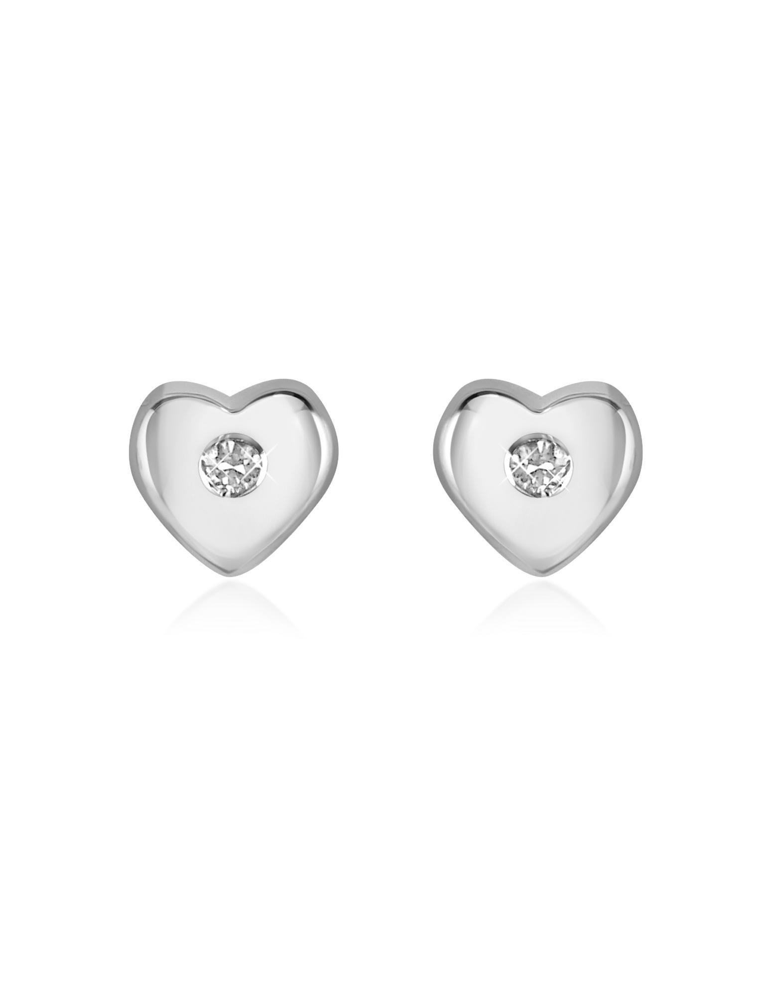 Forzieri  Princess - 0.055 ct Diamond Heart 18K Gold Earrings