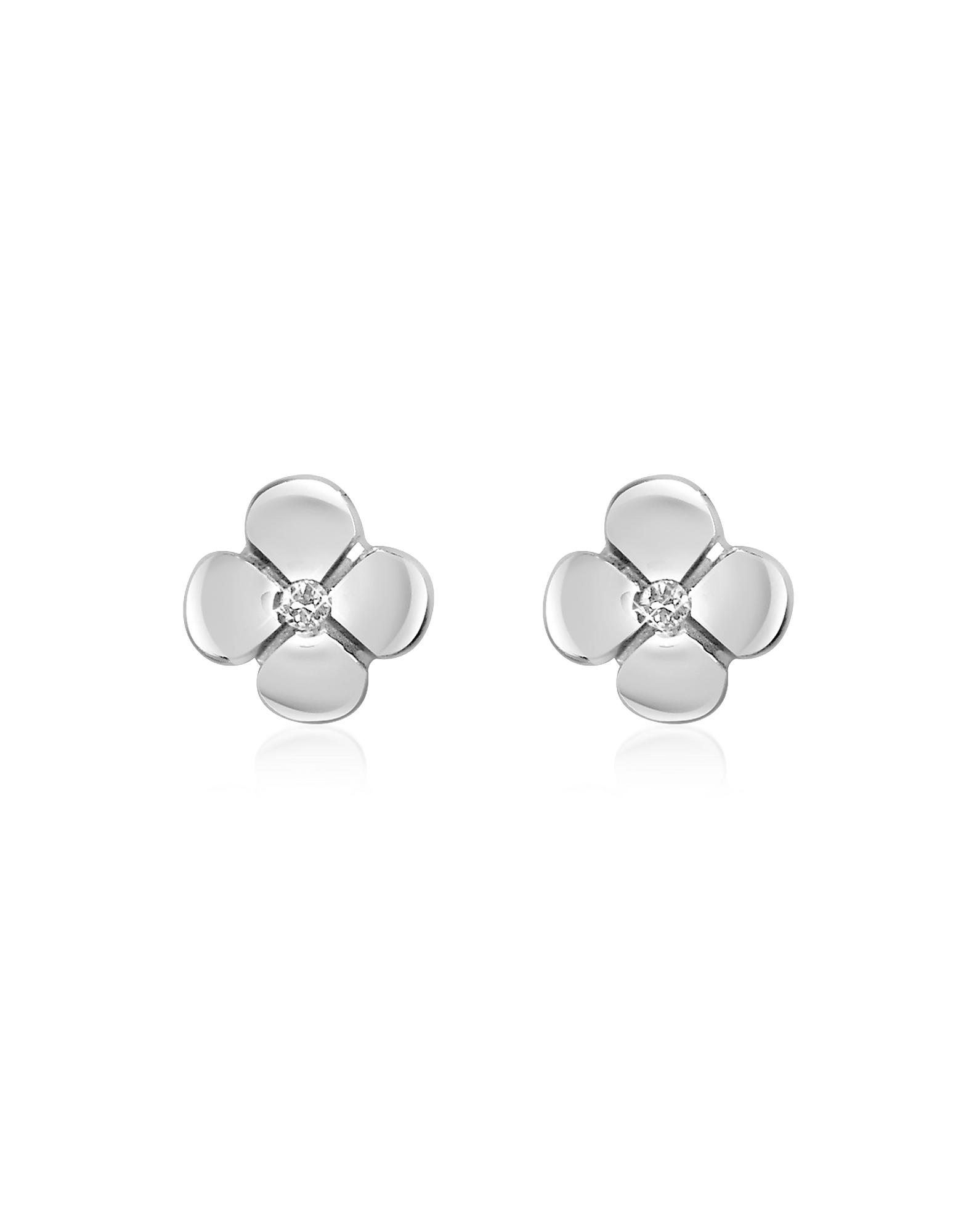 Forzieri Earrings, 0.055 ct Diamond Flower 18K Gold Earrings
