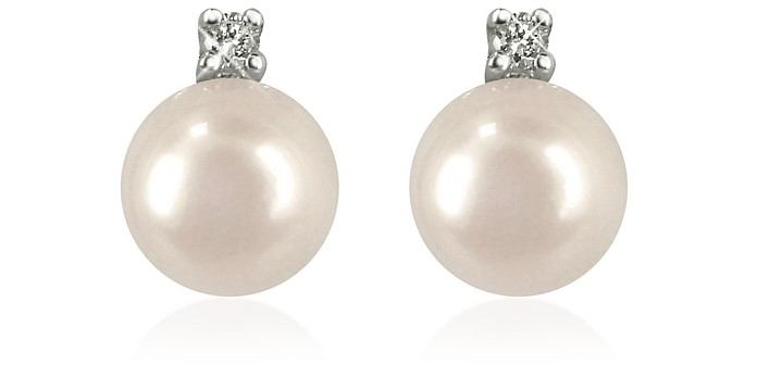 0.07ct Diamond and Pearl 18k Gold Earrings - Forzieri