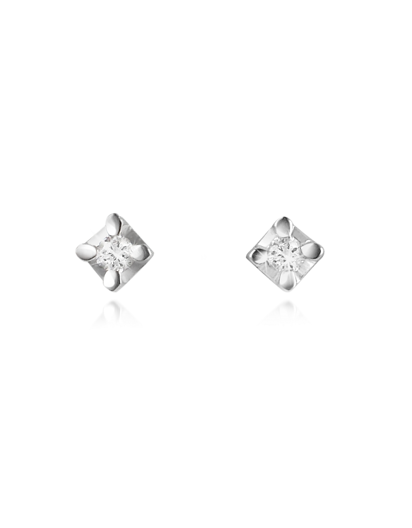 Forzieri Earrings, 0.04 ct Diamond Stud 18k Gold Earrings