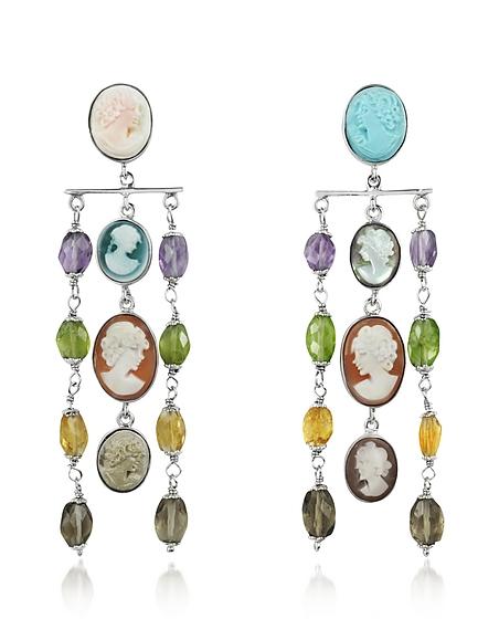 Mia & Beverly Boucles d'oreilles camée et pierres semi-précieuses