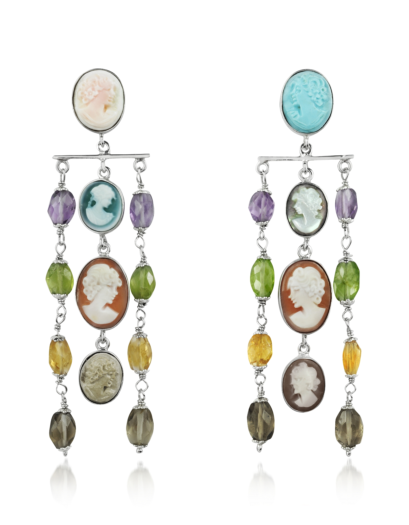 Mia & Beverly Cameo, Cameo Cascade Earrings