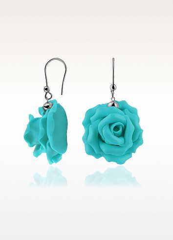 Hand Made Rose Sterling Silver Earrings - Forzieri