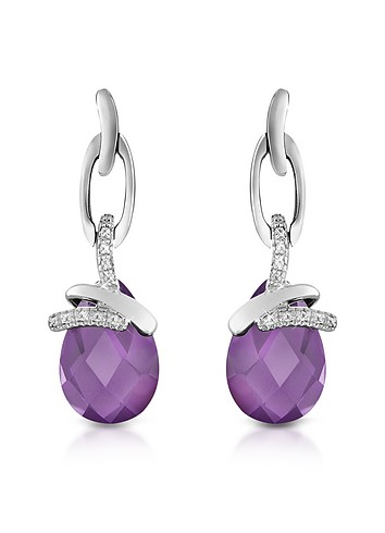 Forzieri Amethyst Drop Sterling Silver Earrings :  chic womens earrings italian jewelry