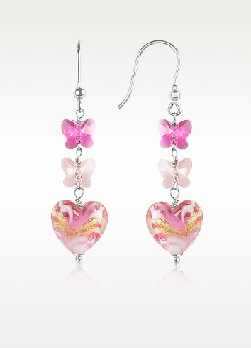 Mare - Pink Murano Glass Heart Drop Earrings - House of Murano