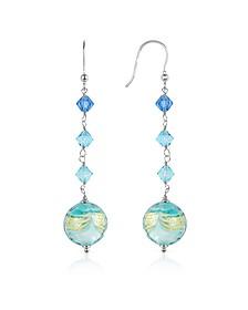 Mare - Turquoise Murano Glass Bead Earrings - House of Murano