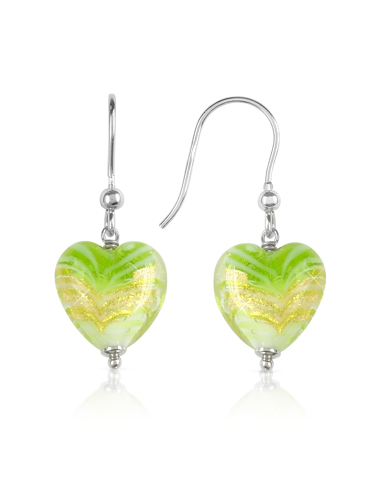 Mare - Серьги с Лимонно-зелеными Сердечками из Стекла Мурано