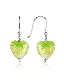 Mare - Lime Murano Glass Heart Drop Earrings - House of Murano