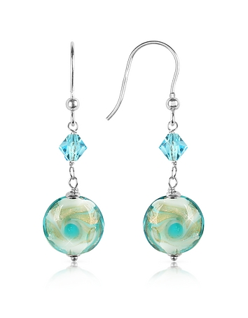 Vortice - Turquoise Swirling Murano Glass Bead Earrings fz354010-011-00