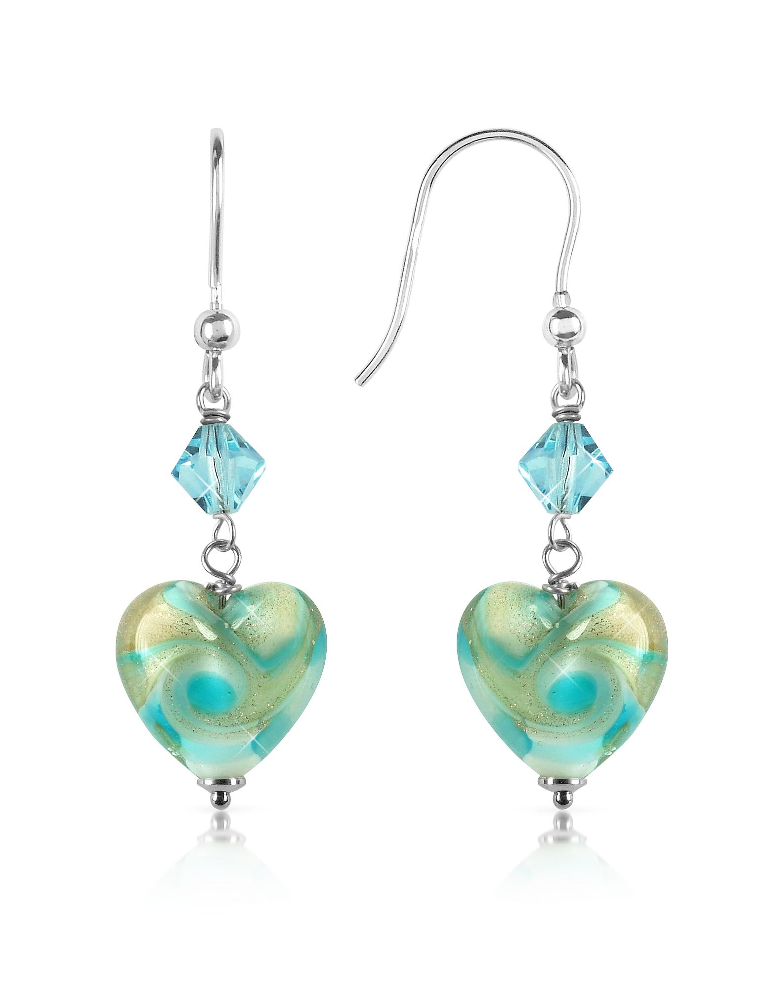 House of Murano Earrings, Vortice - Turquoise Swirling Murano Glass Heart Earrings