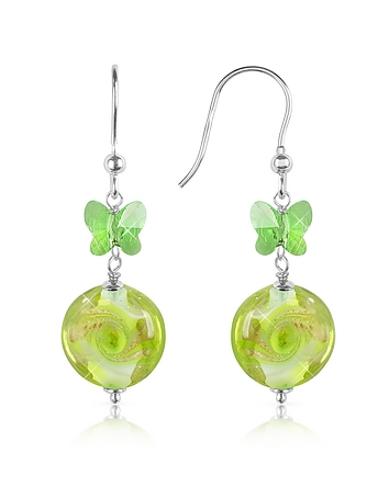 House of Murano - Vortice - Lime Swirling Murano Glass Bead Earrings