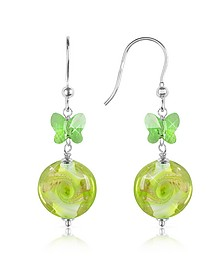 Vortice - Lime Swirling Murano Glass Bead Earrings - House of Murano
