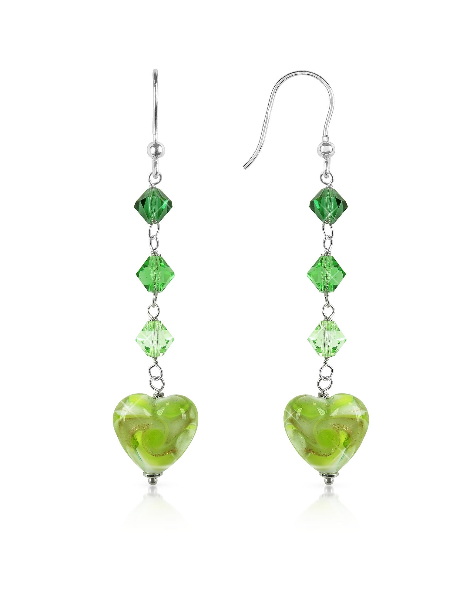 Vortice - Серьги с Сердечками Лимонно-зеленого Цвета из Стекла Мурано
