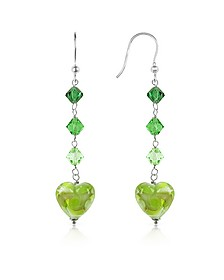 Vortice - Lime Swirling Murano Glass Heart Earrings - House of Murano