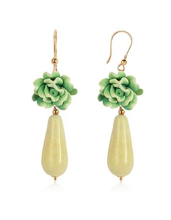 House of Murano - Green Rose Murano Glass Drop Earrings
