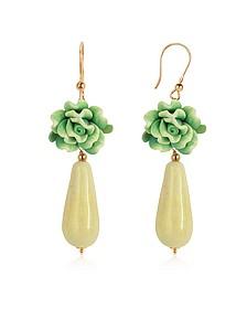 Green Rose Murano Glass Drop Earrings - House of Murano