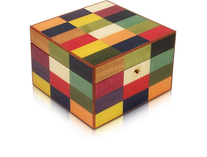 Multicolor Arlecchino Inlaid Wood Jewelry Box - Forzieri