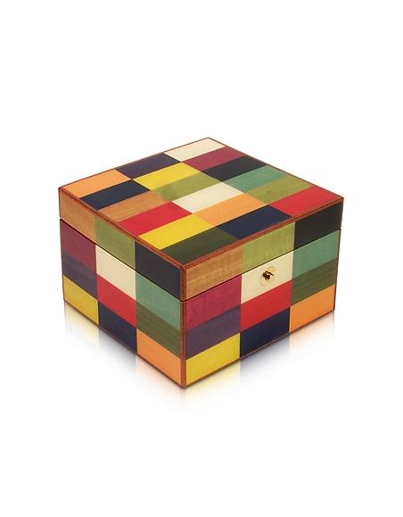 Image of Forzieri Scatola Portagioie In Legno con Intarsi Multicolor