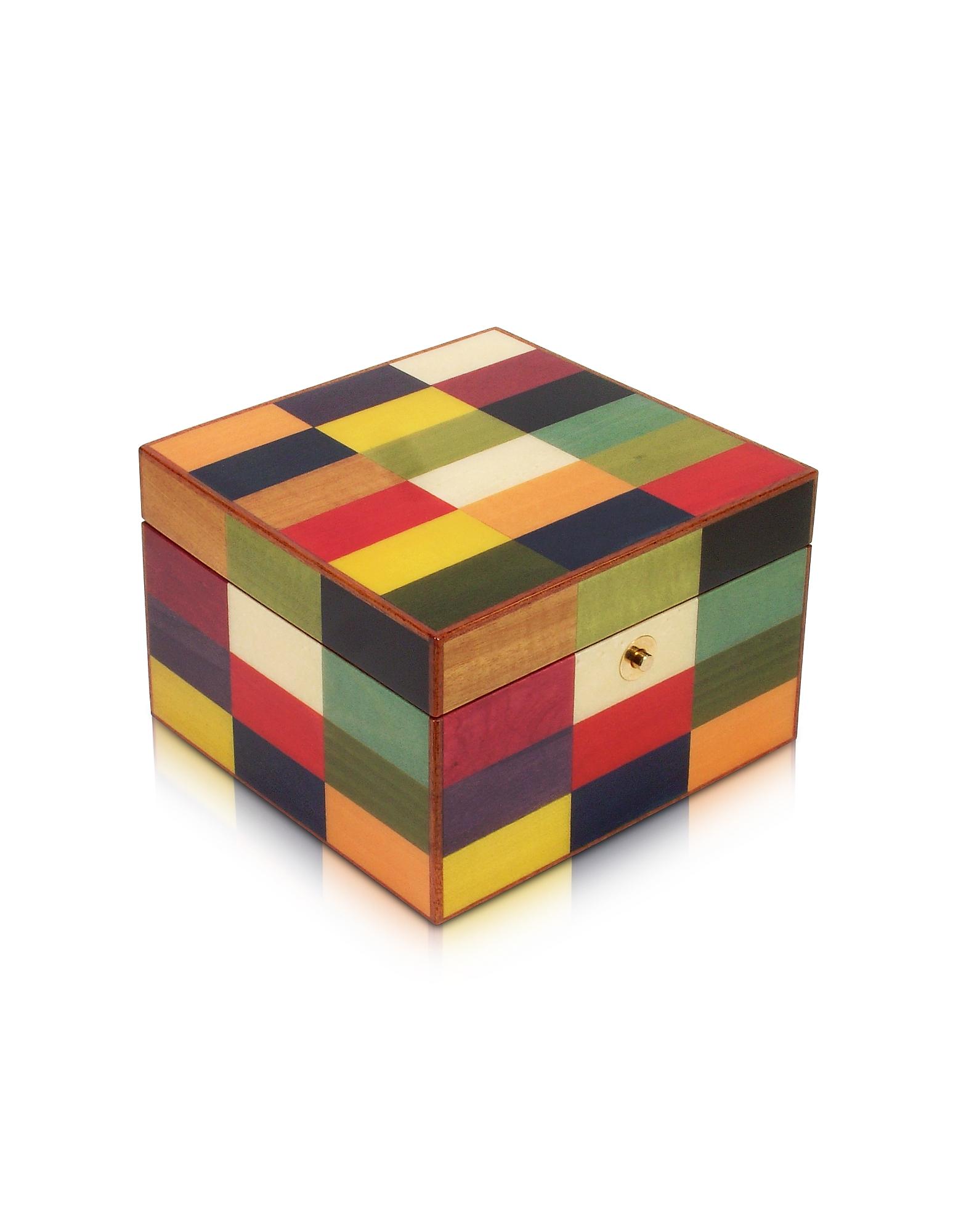 Arlecchino- Разноцветная Шкатулка для Украшений с Мозаикой из Дерева
