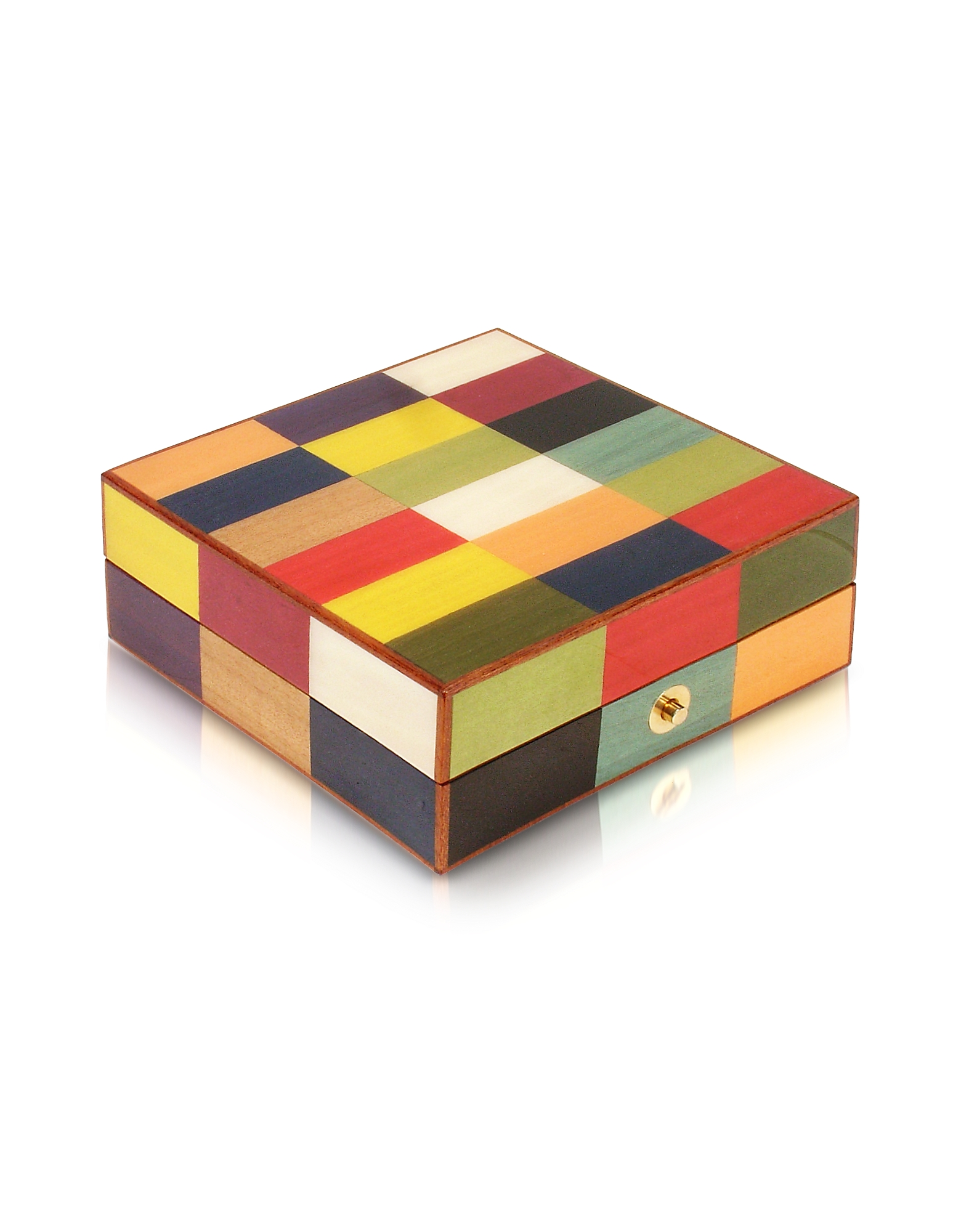 Multicolor Inlaid Wood Jewelry Box