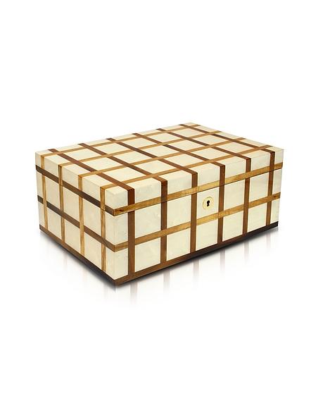 Forzieri Boîte pour montre 10 encarts en bois blanc gravé -
