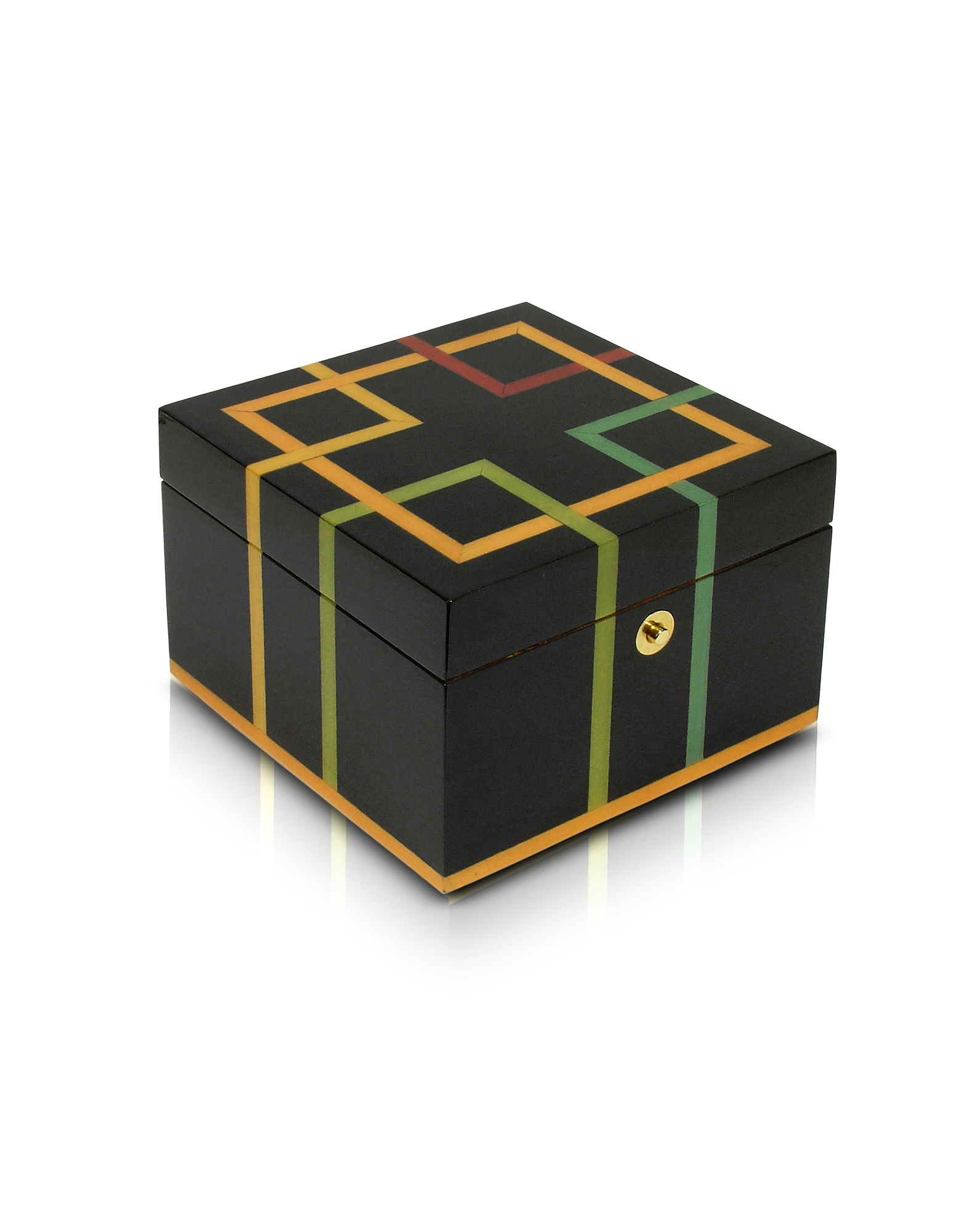 Black Geometric Inlaid Wood Jewelry Box