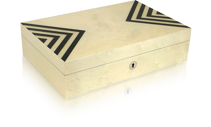 Black and White Inlaid Wood Jewelry Box - Forzieri